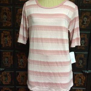 Lularoe soft dusty pink striped Gigi top!